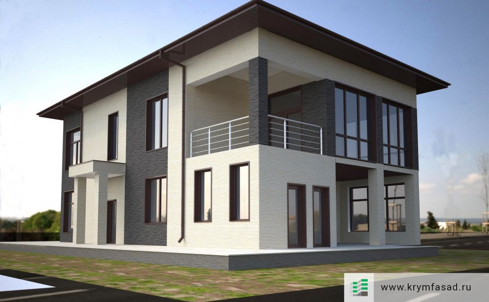 Проект дома г. Евпатория, Лимановка отделка фиброцементными панелями KMEW